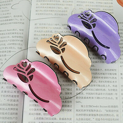 6 Colors Rose Hollow PEARL-ACRYLIC Barrette Hair Jaw Clip Claw Clamp New Design