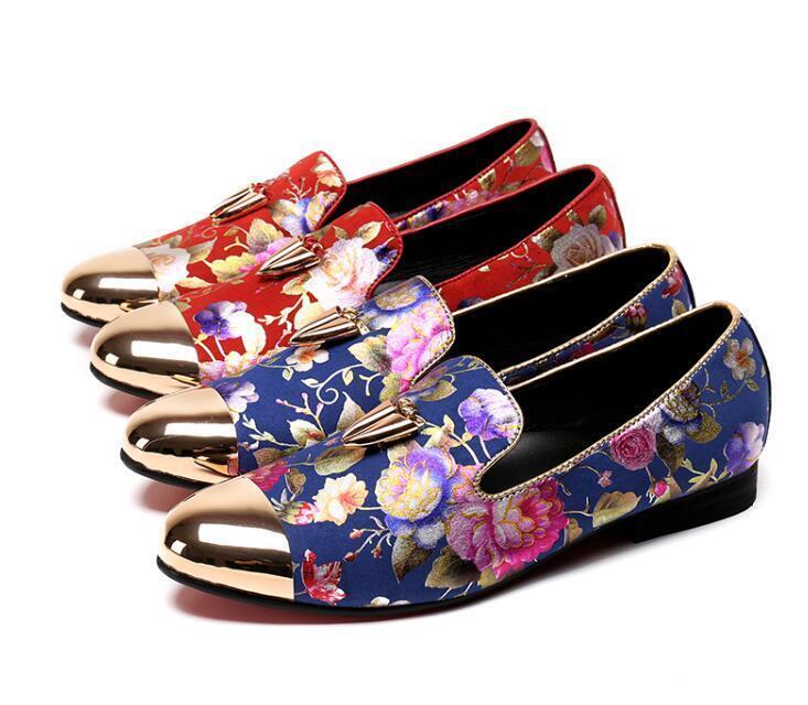 prezzo all'ingrosso Classic Uomo Leather dress floral printed pointy toe toe toe slip on loafer scarpe work  con il 60% di sconto