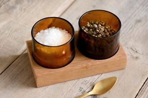 Eco-friendly-Salt-amp-Pepper-pinch-pot-set-handmade-from-Teak-wood-amp-beer-bottles