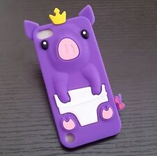 For iPod Touch 5th / 6th Gen - Soft Silicone Rubber Case Cover Cute Crown Pig