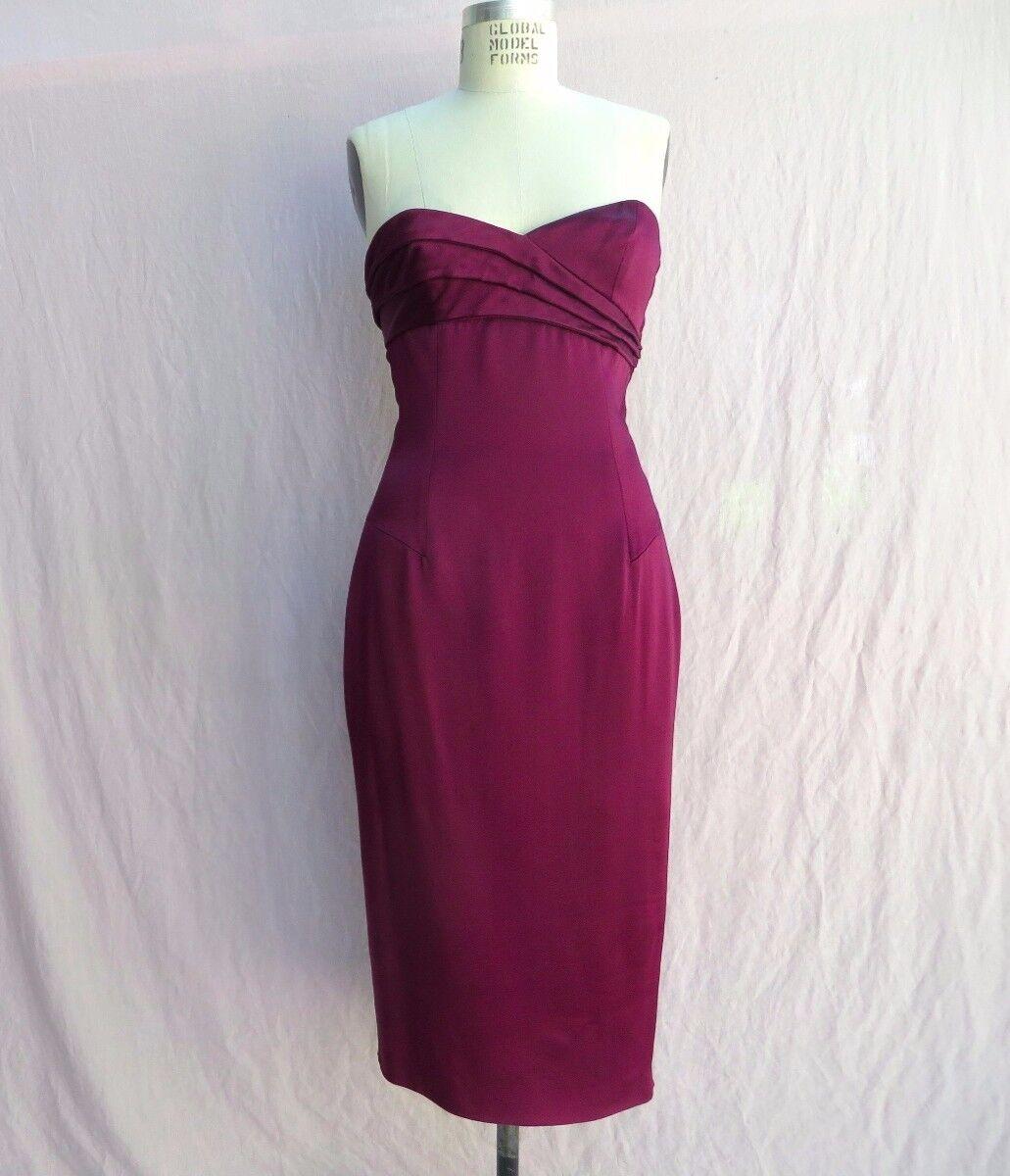 Seda y satén suave L 'Wren Scott pista  Borgoña Sin Tirantes Cóctel Vestido talla 44 8US  marca en liquidación de venta