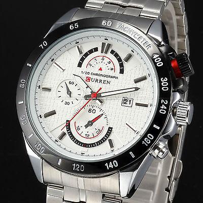 New Fashion Mens Quartz White Date Stainless Steel Analog Sport Army Wrist Watch