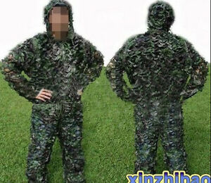 Paintball-Hunting-Bird-watching-Camouflage-Ghillie-Suit-Tunic-amp-Pants-Coat