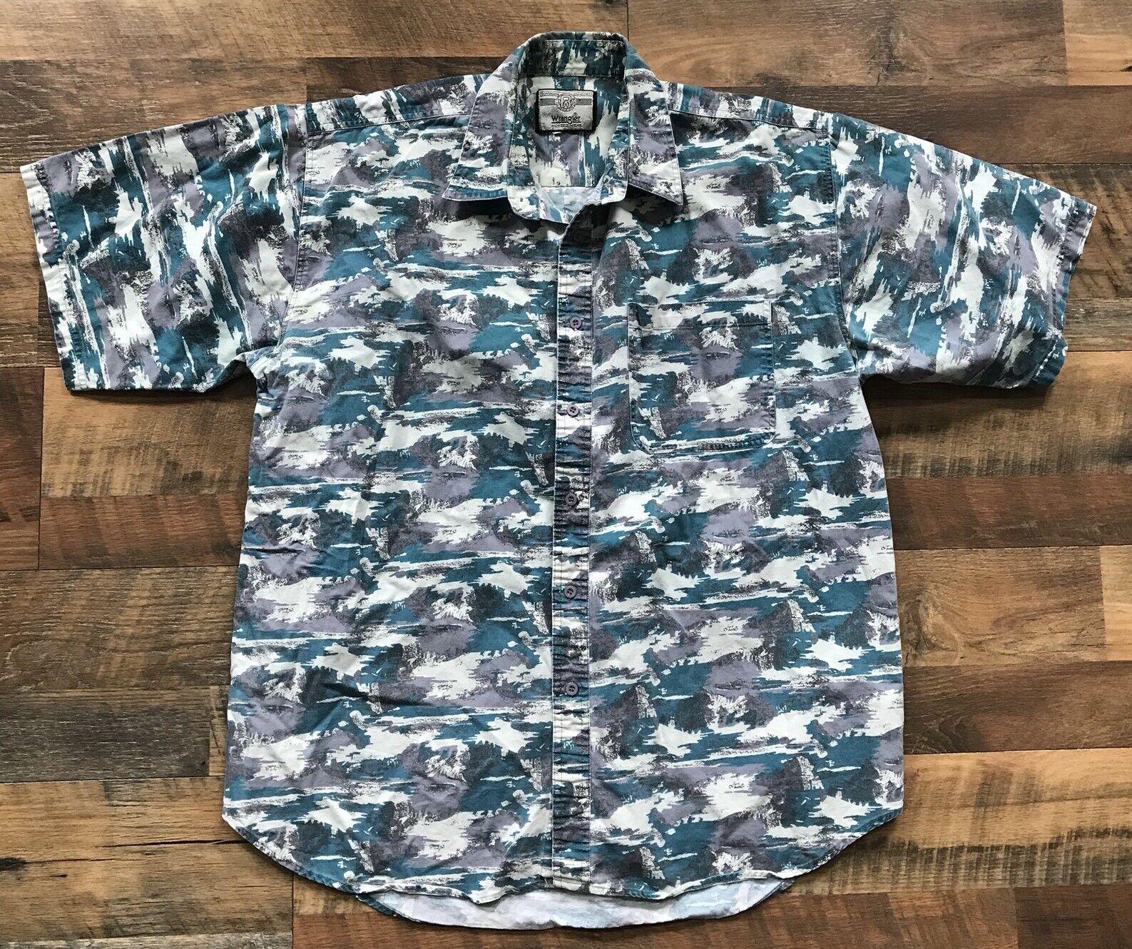 732b566ed3 VTG Wrangler Shirt Western Cowboy Rodeo Rancher Mountains Abstract Men XL  owfldo4029-Casual Shirts   Tops
