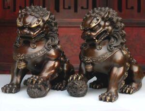 Pair-Feng-Shui-Chinese-Classical-Bronze-Lion-Statue-Evil-Guardian-Door-Fu-Foo