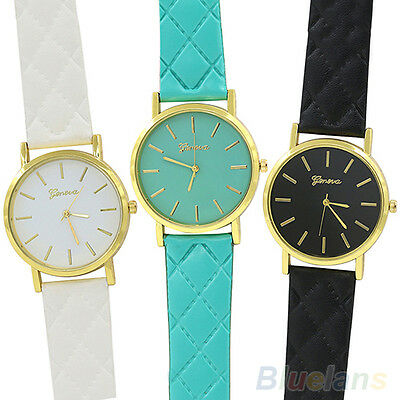 Men's Women's Hot Fashion Geneva Checkers Faux Leather Quartz Analog Wrist Watch