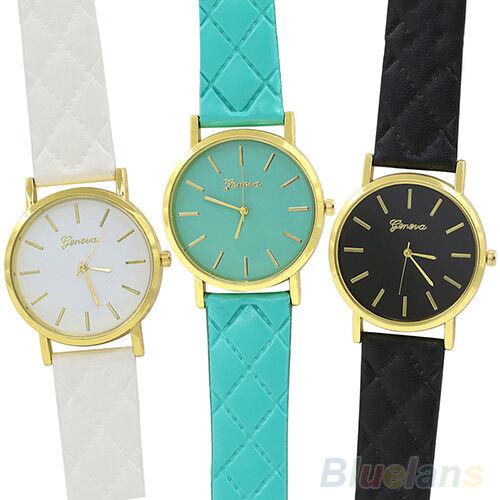 Men Women Charming Casual Geneva Checkers Faux Leather Quartz Analog Wrist Watch