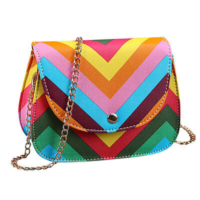 Fashion Women Shoulder Bag Chain Rainbow Stripes Crossbody Messenger Bags New
