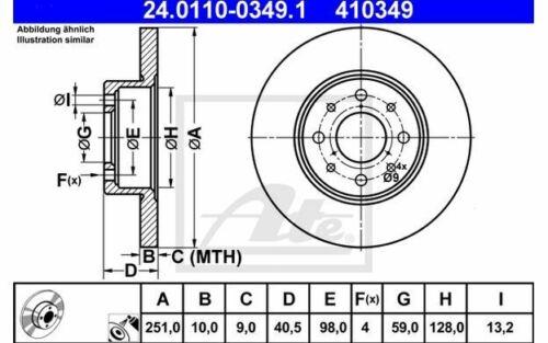 2x ATE Bremsscheiben hinten Voll 251mm für ALFA ROMEO MITO 24.0110-0349.1