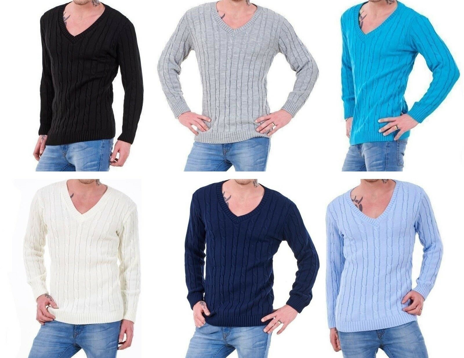 Winter Mens Cable Knitted Cardigan Buttoned Sweater V-Neck Casual Long Sleeve