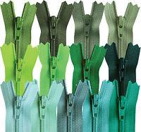 YKK Closed End Nylon Zips Green, Jade, Emerald, Bottle, 4-22 Inch, 10-56cm