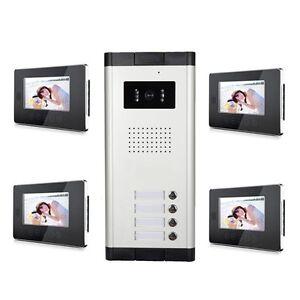 4 Unit Apartment Video Intercom System 7 inch Video Doorbell Video ...