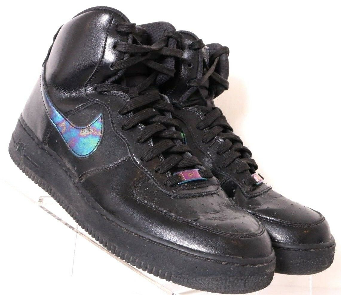 Nike 806403 Air Force 1 High 07 Black Iridescent Leather HT Sneaker Men's US 10