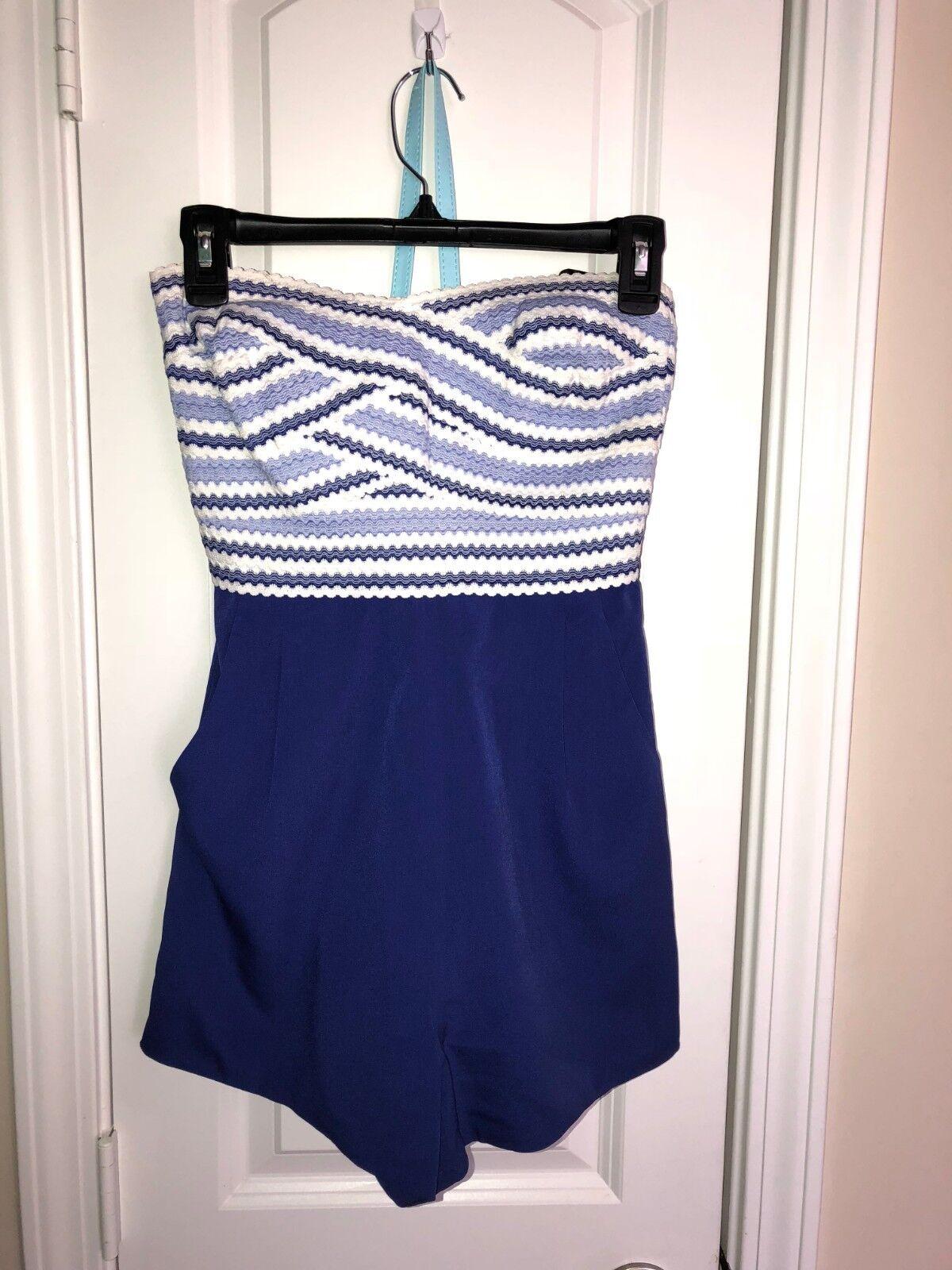 Bebe short jumpsuit (size s, bluee white color)