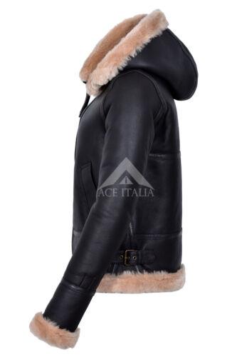 Donna Giacca di pelle di pecora pelliccia marrone beige con cappuccio Pieno Morbido Vera Pelle F-05