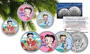 BETTY BOOP CHRISTMAS Colorized JFK Half Dollar U.S. 3-Coin Set Tree Ornaments