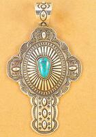 Navajo Sterling Silver Cross Pendant Gem Royal Blue Turquoise Darrell Cadman