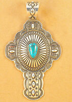 Navajo Sterling Silver Cross Pendant Gem Royal Blue Turquoise Darrell Cadman