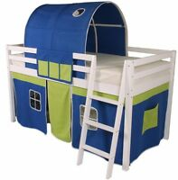 Mid Sleeper Children's Bed Cabin Bed Bunk Loft Bed White Wooden Tunnel Bluegreen