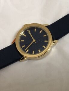 454bbc6a4580 Image is loading NWT-Tory-Burch-Gigi-Watch-Navy-Leather-Gold-