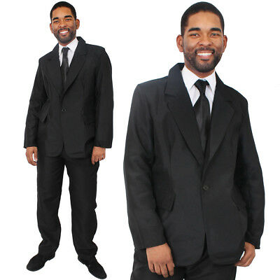 MENS BLACK SUIT BRITISH SECRET AGENT COSTUME SPECIAL DETECTIVE FANCY DRESS