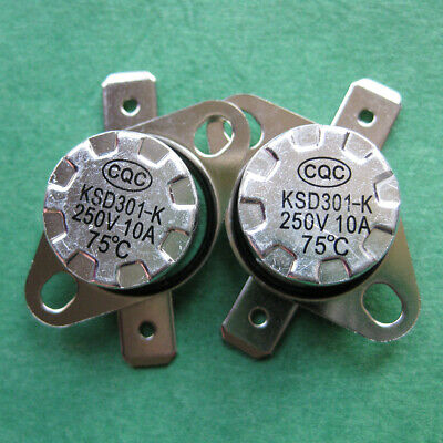 2pcs KSD301 75°C Temperature Switch Thermostat 167°F Degree Celsius N.C