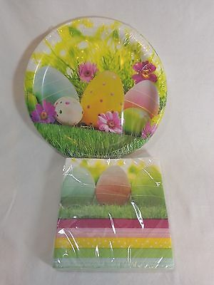 Easter Paper Plates and Napkins Small Serves 8 Decorative Eggs in Grass Sturdy
