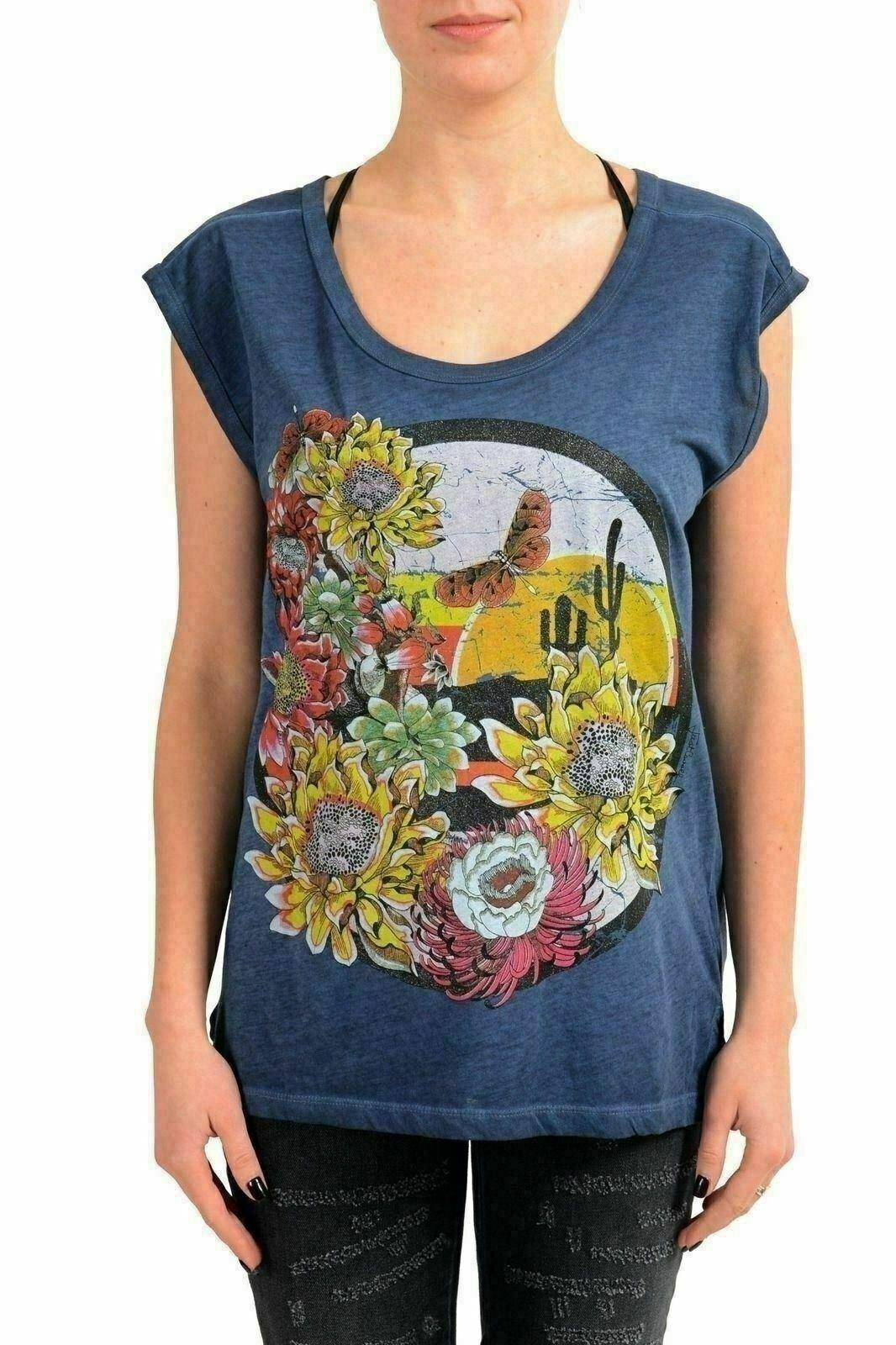 Just Cavalli Woherren Blau Graphic Sleeveless T-Shirt US S IT 40