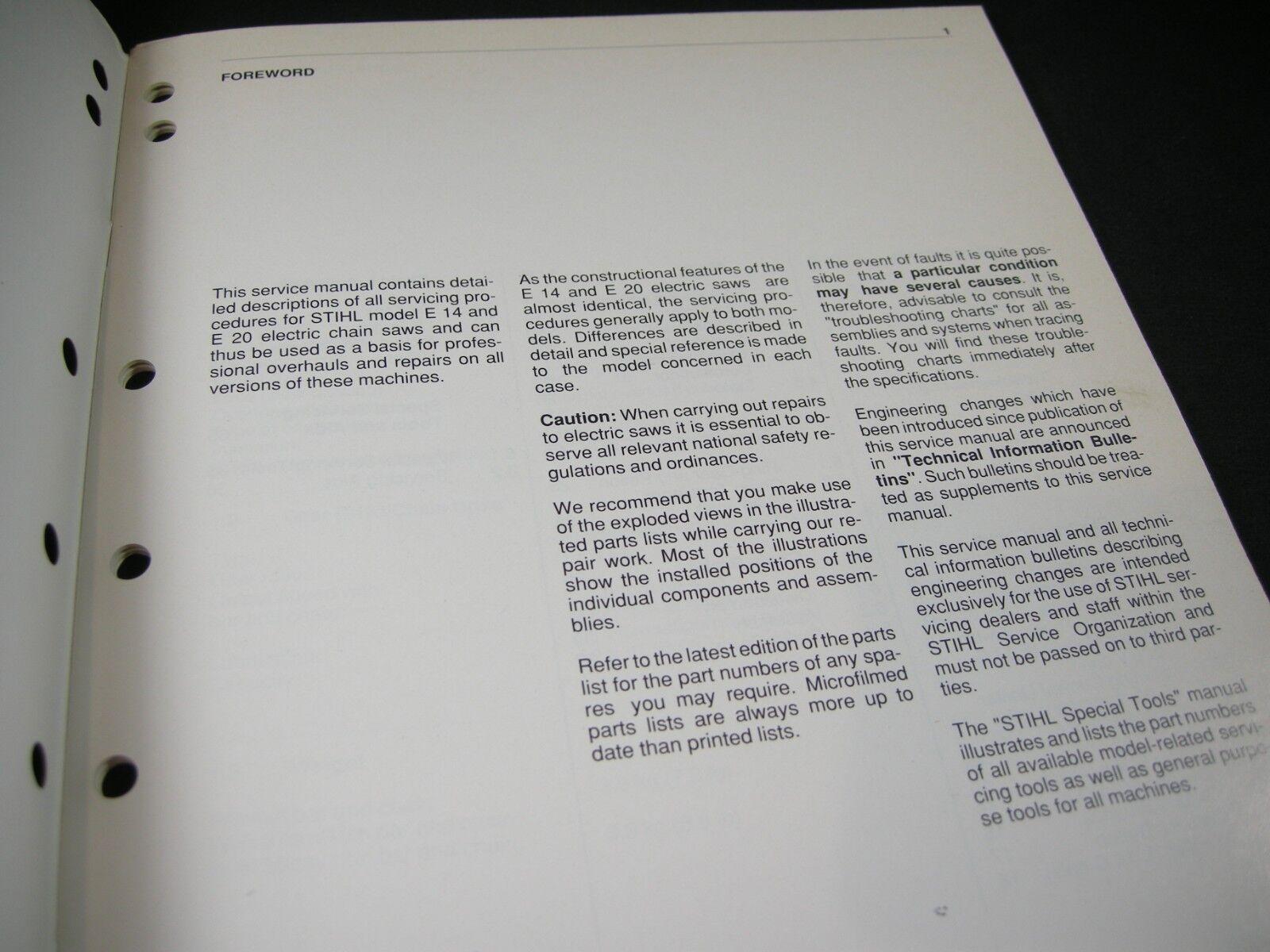 Stihl E14 E20 Chainsaw Service Manual Ebay Engine Diagram