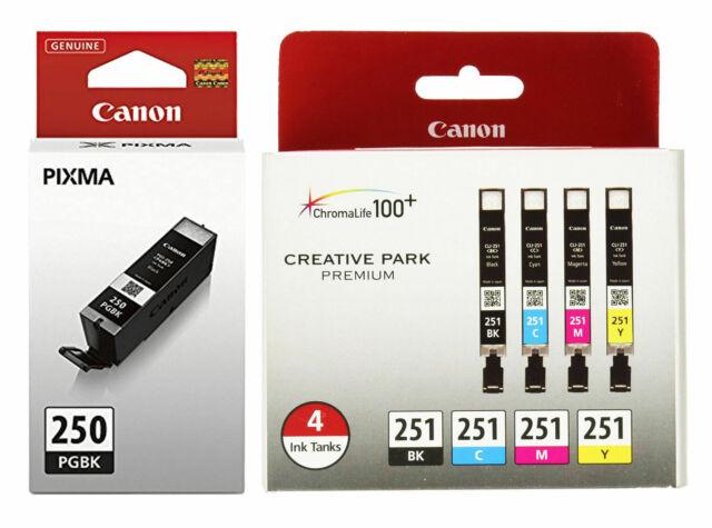 5-Pack New GENUINE Canon PGI-225 Black /& CLI-226 B//M//Y//C Colors Ink Cartridges
