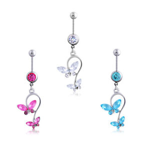 Beauty-Crystal-Butterfly-Dangle-Body-Piercing-Jewelry-Belly-Button-Navel-Ring