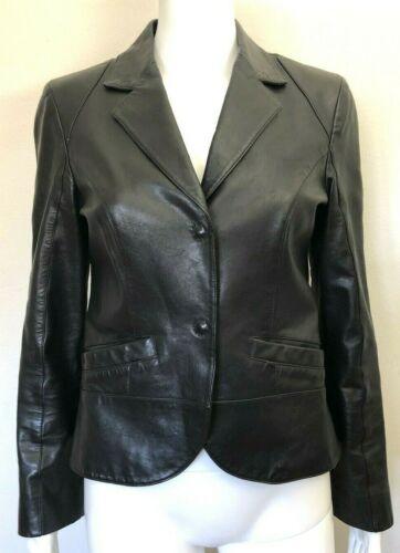 PRADA Black Leather Blazer Jacket, sz 42
