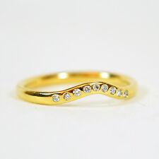 Tiffany & Co Thin Gold V Ring with Diamonds, Size 7