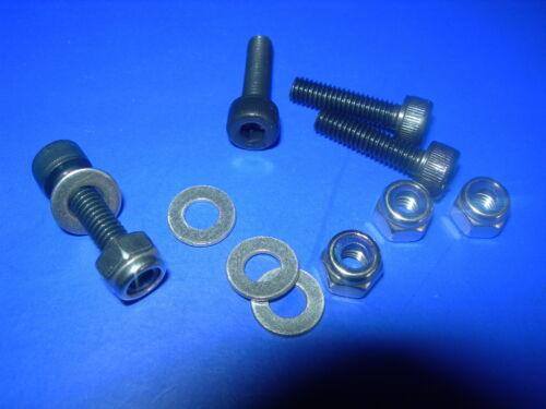 M6 Socket Cap Head M2.5,M3,M4,M5 NYLOC Nuts /& FLAT Washers Bolts BLACK Skt