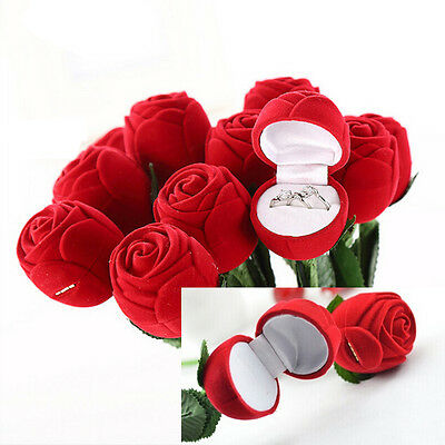 Red Rose Flower Ring Earring Necklace Jewelry Gift Case Boxes Display Package