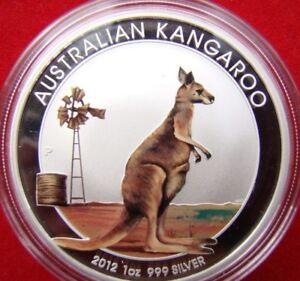 1 Oz 999 Argent-kangourou/kangaroo 2012 Pp Argent Pièce De Monnaie-afficher Le Titre D'origine