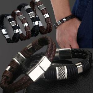 Men-Women-Leather-Titanium-Steel-Magnetic-Braided-Clasp-Bracelet-Bangle-Hot