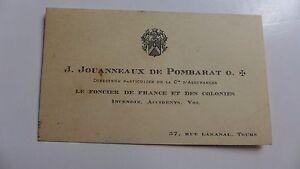 Carte De Visite Ancienne J JOUANNEAUX DE POMBARAT