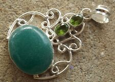 Handmade in India ~ silver plated green onyx cabochon fancy design pendant