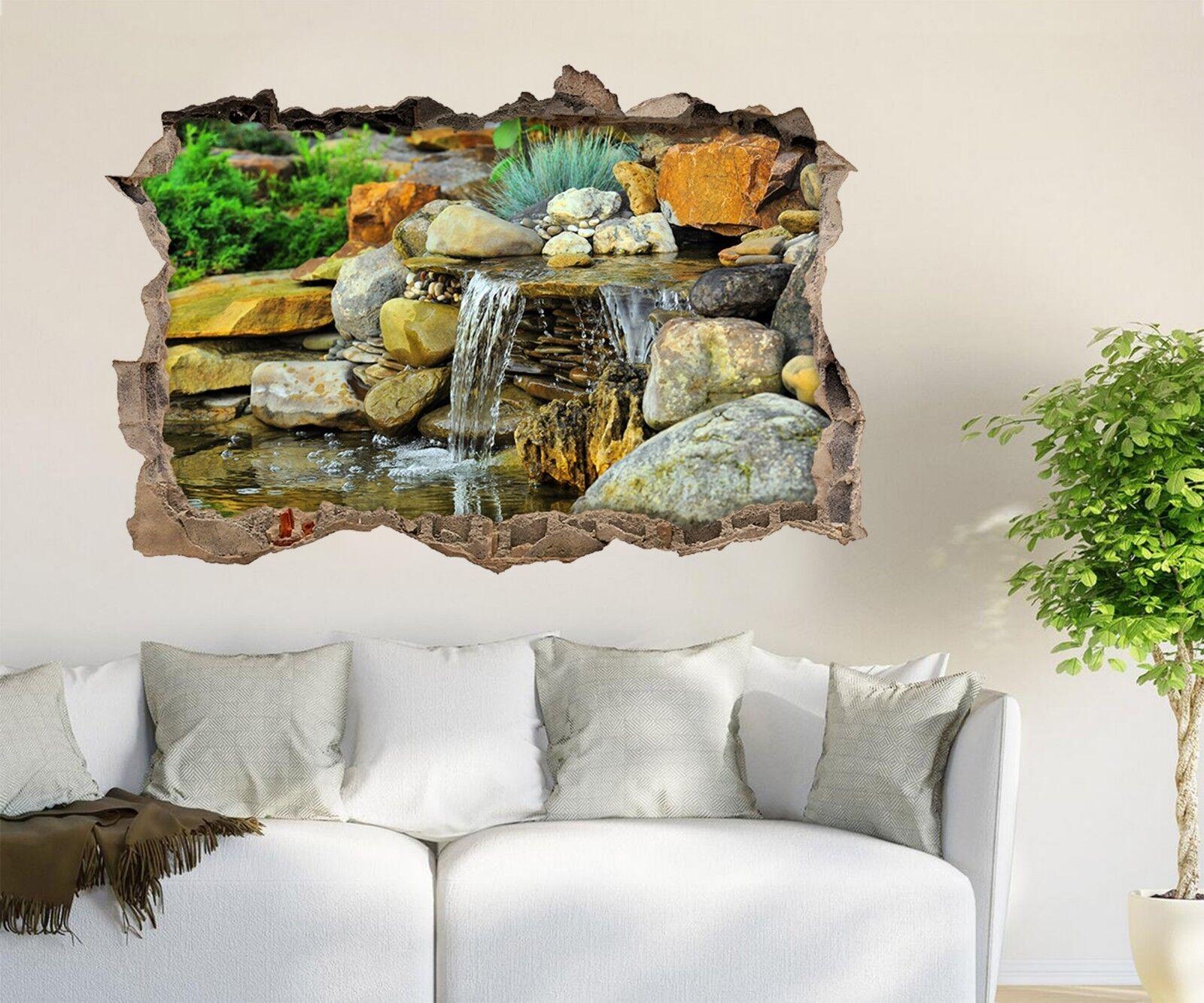 3D Steiniger Bach 2 Mauer Murals Mauer Aufklebe Decal Durchbruch AJ WALLPAPER DE