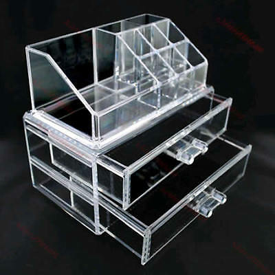 Cosmetic Jewelry Rack Makeup Organizer Box Case 2 Storage Drawers New