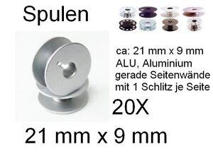Bobines 21 x 9 mm, alu vollwandig avec fente, 20x Aluminium Bobine  </span>