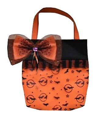 Halloween Donna Arancio Nero Peluche T-o-t Bag Con Fiocco Costume Accessori-mostra Il Titolo Originale