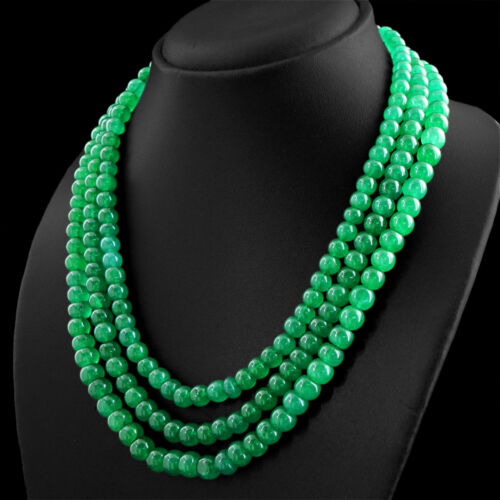 RARE 581.50 cts Earth mined ligne 3 Vert Émeraude Forme Ronde Perles Collier