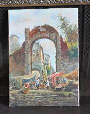 Acervi Vando (1906-) Oil Painting -  Piazza di Campo Fiori - Market Rome Italy