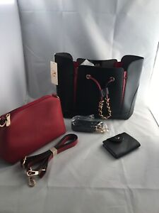 Black-Burgundy-Anna-Grace-Handbag-Shoulder-Bag-Set-With-Card-Holder-3pc-Set