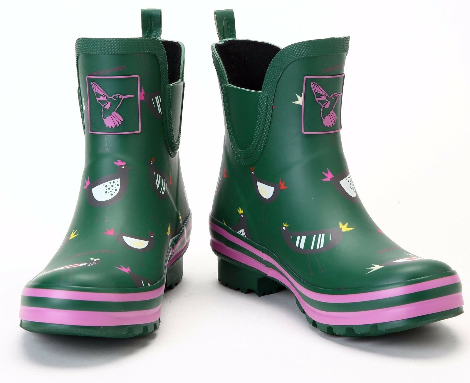 *NEW* Sizes Evercreatures Funky Wellies Chicken  Ankle Wellington Boots Sizes *NEW* 3-8 674c0b