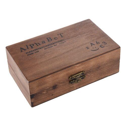 Pack of 70pcs Rubber Stamps Set Vintage Wooden Box Case Alphabet Letters Numb SS