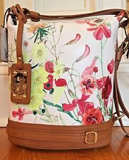 VALENTINA Floral Italian Pebbled Full Grain Leather Bucket Shoulder Bag $395NWT