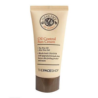 [The FACE Shop] Clean Face Oil Control Sun Cream SPF35 PA++ 50ml Sebum Acne